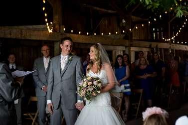 Bride & Groom during vibrant Kentucky summer barn wedding