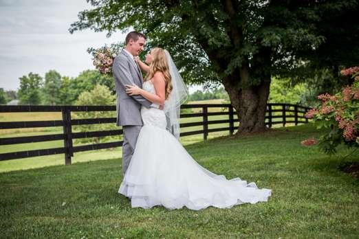 Bride & groom portrait at summer estate wedding