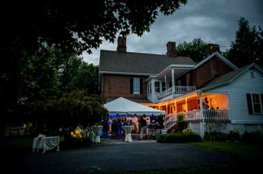 Outdoor wedding reception at Warrenwood Manor