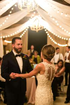 First dance at classy rustic glam wedding reception