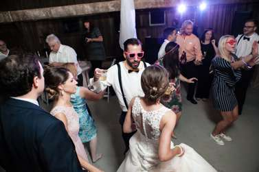 Late night dancing at classy rustic glam wedding reception