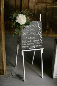 Unplugged Ceremony sign for fall wedding at Warrenwood Manor