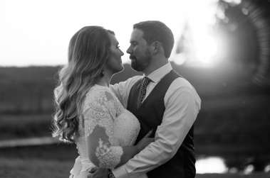 Black & White wedding portrait from fall farm wedding