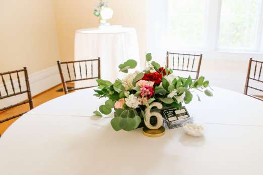 Indoor fall wedding reception at Warrenwood Manor