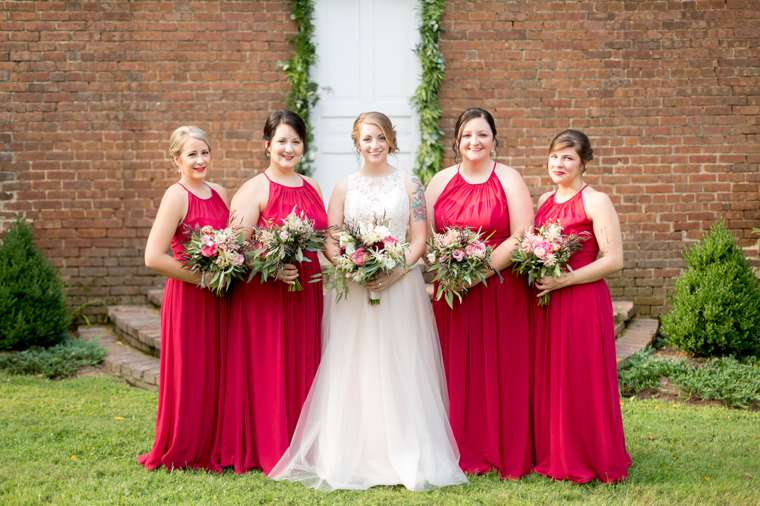 Bridesmaids in red at stunning KY summer wedding