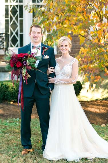Dapper groom & classic southern bride at Kentucky winter wedding