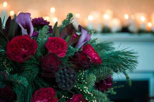 Winter floral design with rich colors
