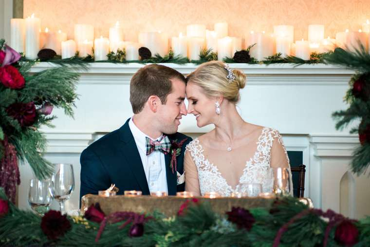 Sweetheart table at Kentucky inspired winter wedding
