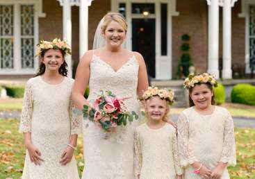 Bride with flower girls at Kentucky estate wedding