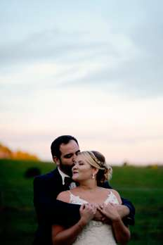 Bride and groom at fall Warrenwood Manor wedding in Danville, Kentucky