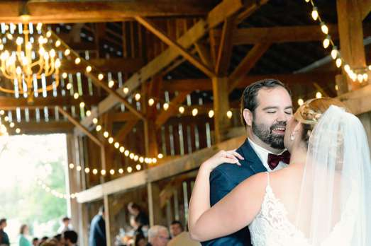 First dance at refined rustic fall barn wedding reception