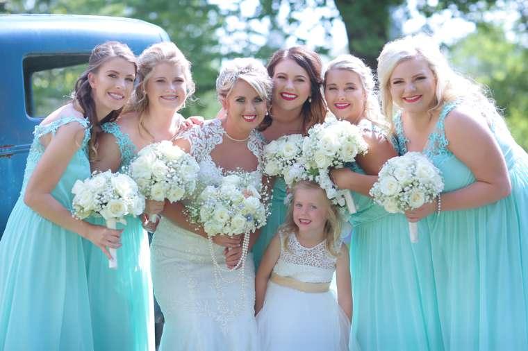 Vintage Glam bridal party in aqua
