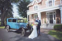 Bride and her father getting ready for vintage glam wedding ceremony