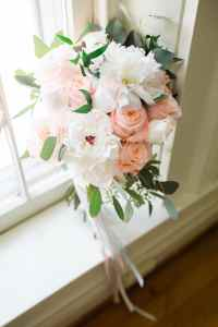 White & Peach Spring Bridal Bouquet