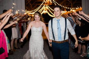 Sparkler Send-Off from Barn wedding reception