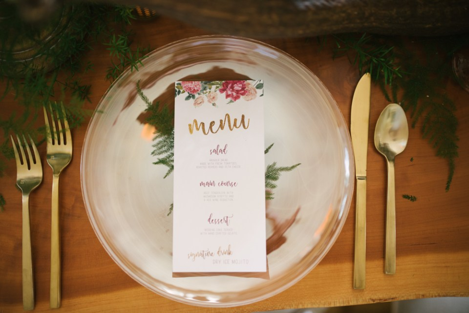 Simple Boho Place Setting with Floral Menu