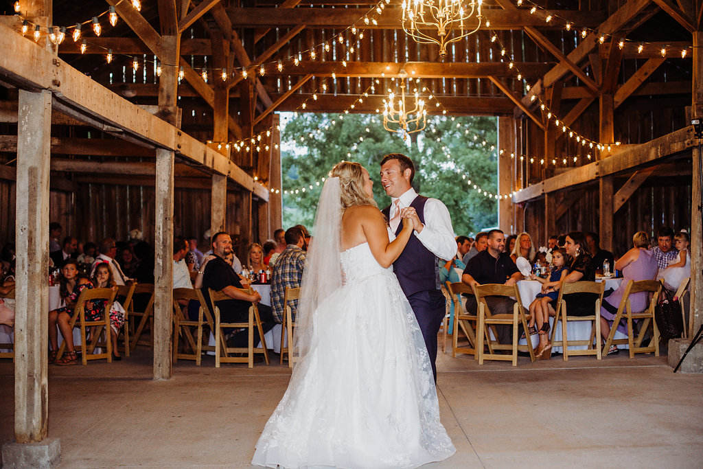 First dance at country glam wedding