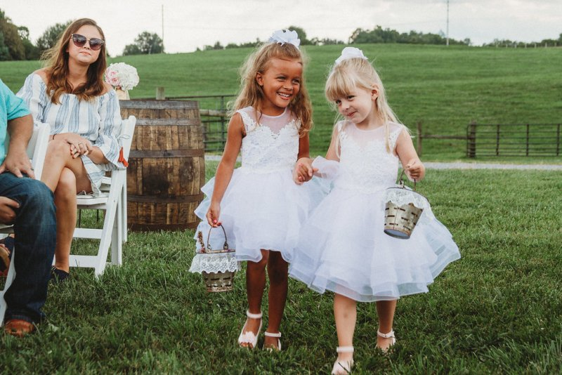 Flower Girls at country glam wedding in Kentucky