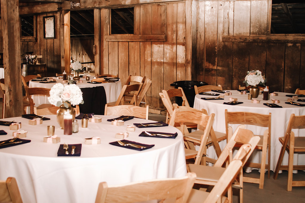 Rustic country barn wedding reception