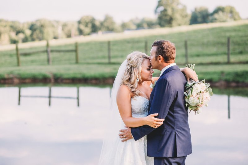Bride & Groom at their Kentucky farm wedding