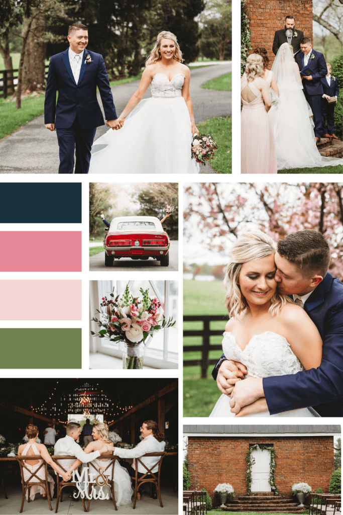 Mood Board for Refined Rustic Spring Wedding in Kentucky - Warrenwood Manor
