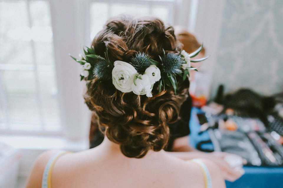 Vintage wedding hair with white and blue flowers at Vintage Spring Wedding - Warrenwood Manor -Kentucky Wedding Venue