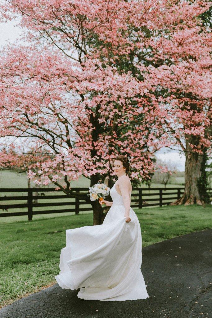 Bride with dogwood trees at Vintage Spring Wedding - Warrenwood Manor -Kentucky Wedding Venue