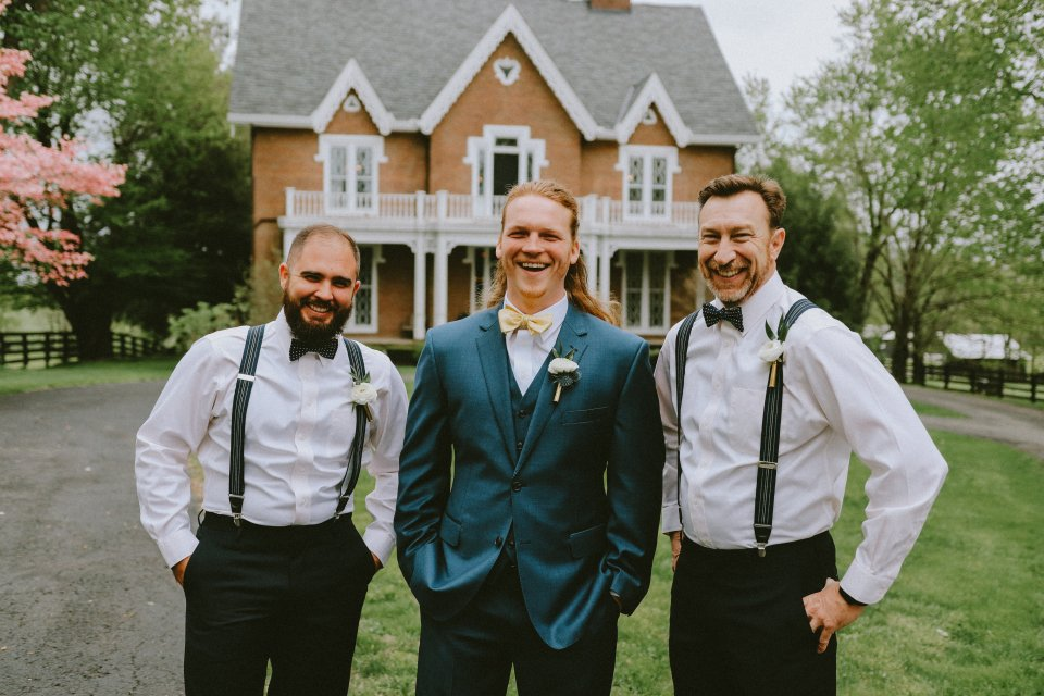 Groom & groomsmen in navy at Vintage Spring Wedding - Warrenwood Manor -Kentucky Wedding Venue