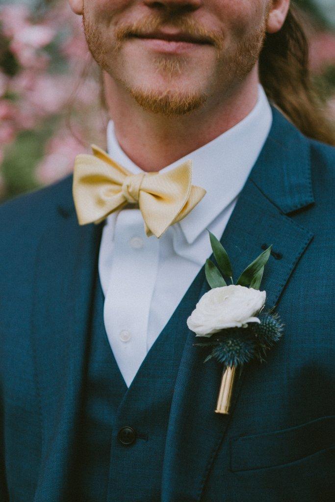 White & blue floral boutonniere at Vintage Spring Wedding - Warrenwood Manor -Kentucky Wedding Venue