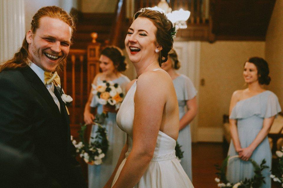 Happy ceremony in Historic House at Vintage Spring Wedding - Warrenwood Manor -Kentucky Wedding Venue