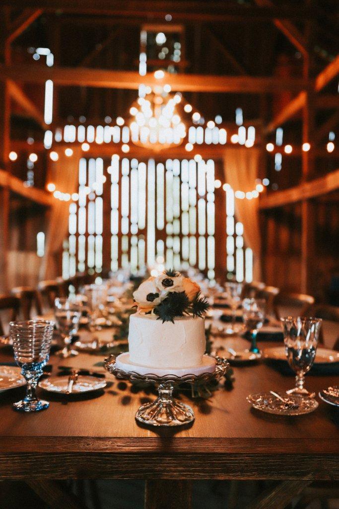 Small Cake at barn reception at Vintage Spring Wedding - Warrenwood Manor -Kentucky Wedding Venue