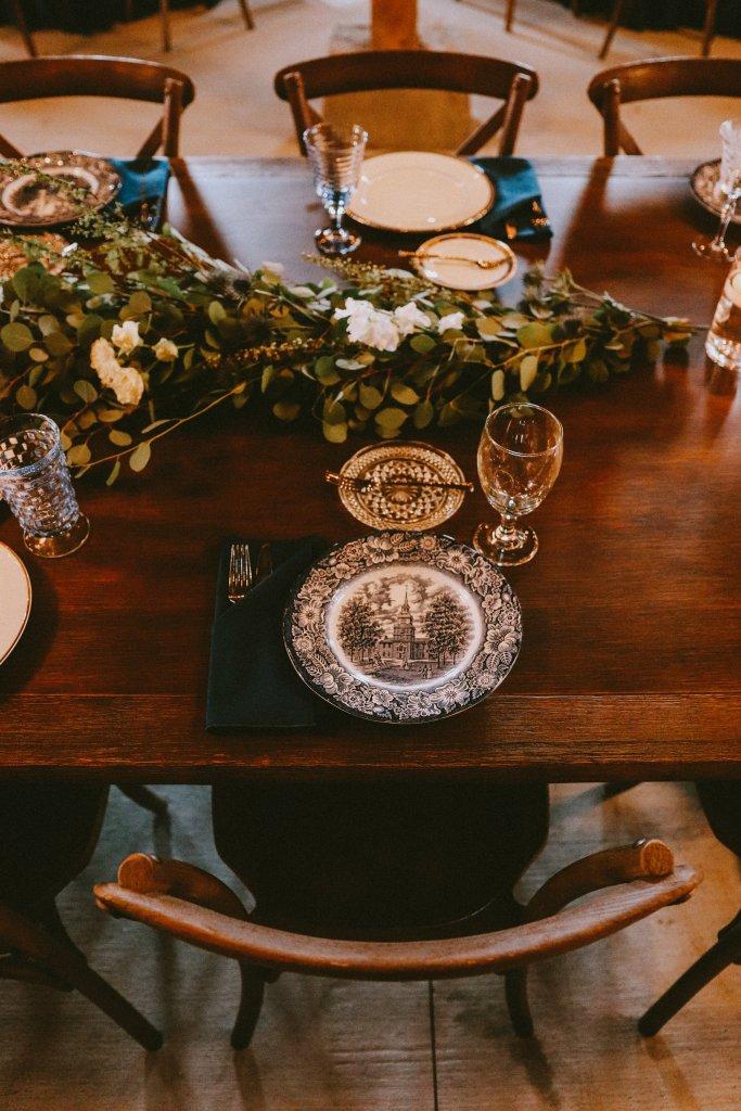 Barn Reception with vintage china at Vintage Spring Wedding - Warrenwood Manor -Kentucky Wedding Venue