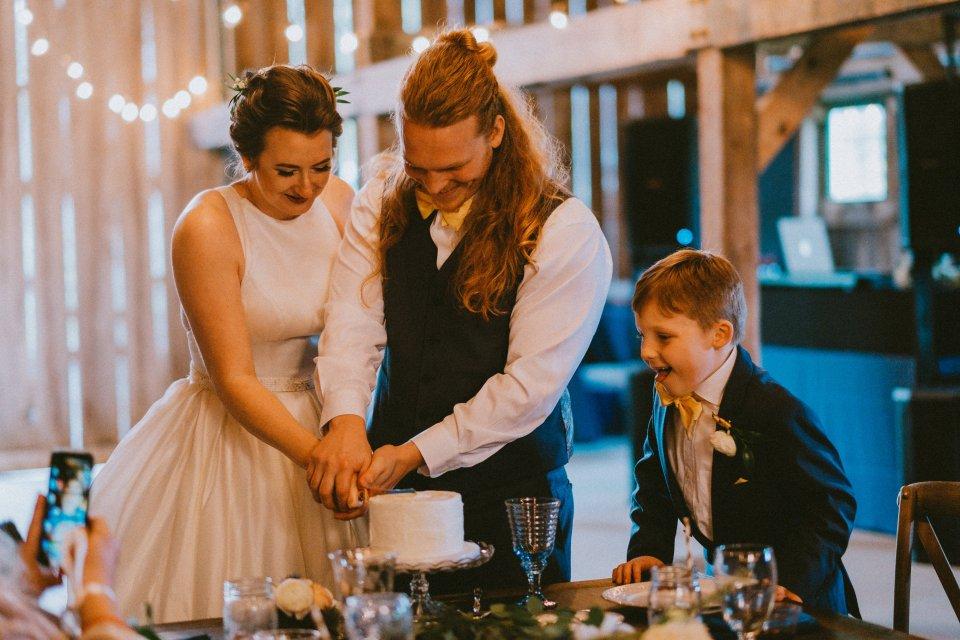 Cake cutting at Vintage Spring Wedding - Warrenwood Manor -Kentucky Wedding Venue