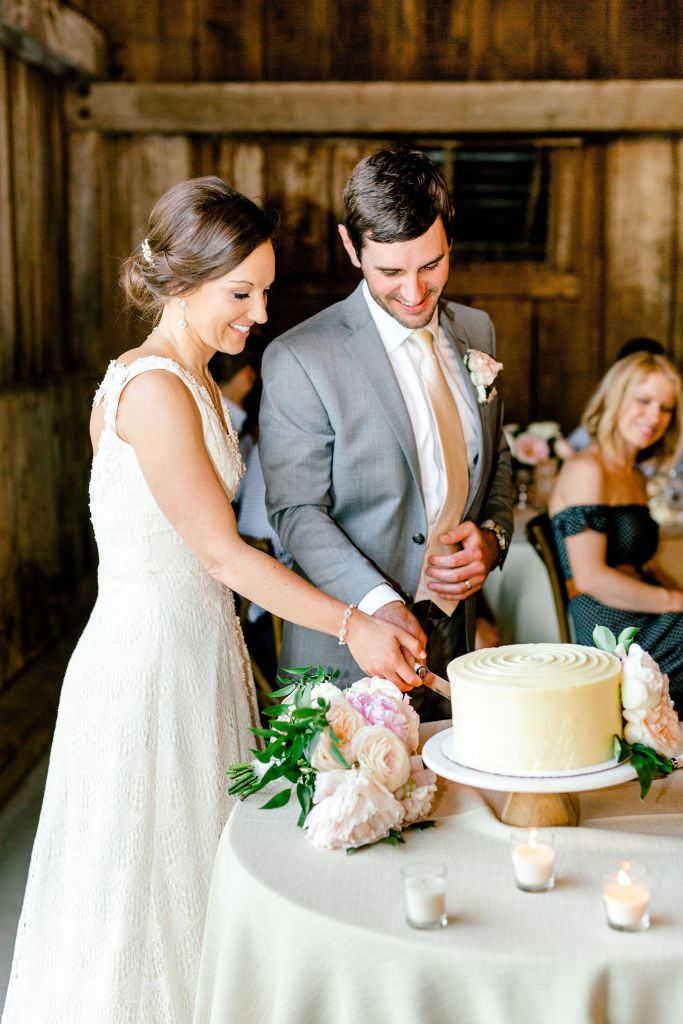 Pastel Spring Southern Chic Wedding at Warrenwood Manor - Kentucky Wedding Venue- Cake cutting