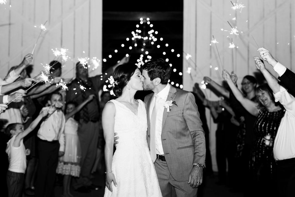Pastel Spring Southern Chic Wedding at Warrenwood Manor - Kentucky Wedding Venue- Sparkler Exit of Couple from Reception
