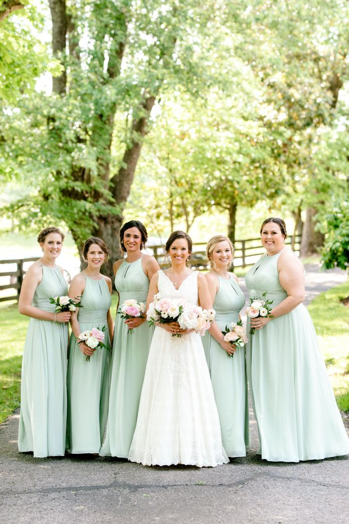 Pastel Spring Southern Chic Wedding at Warrenwood Manor - Kentucky Wedding Venue- Bridesmaids in Long Sage Dresses