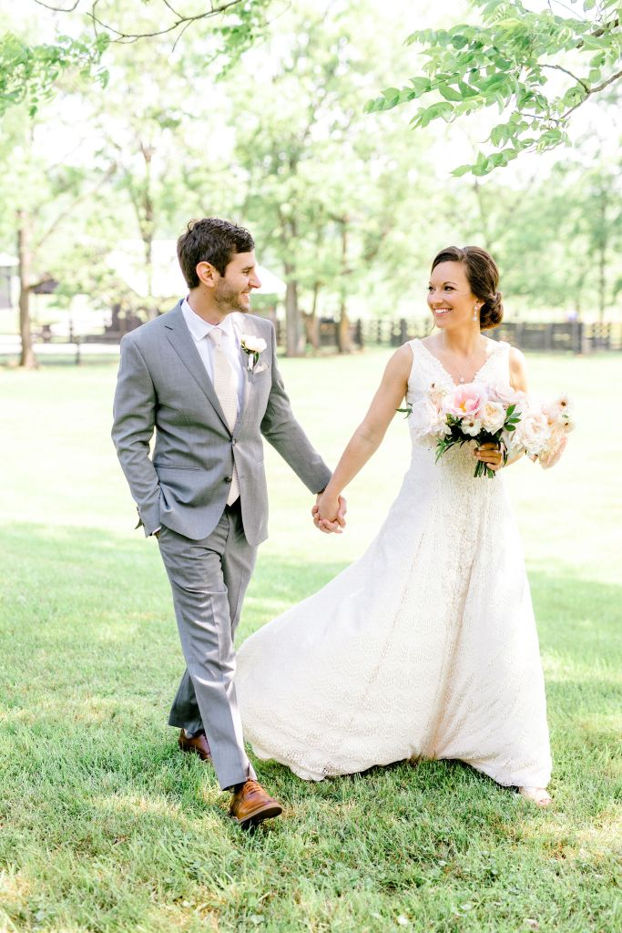 Pastel Spring Southern Chic Wedding at Warrenwood Manor - Kentucky Wedding Venue- Couple in farm field