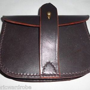 British Sam Browne Leather Ammo Pouch for Belt Dark Brown