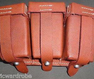 WWI German GEW98 GEWEHR 1909 Leather Ammo Pouch Mid Brown SET - Repro (PAIR)