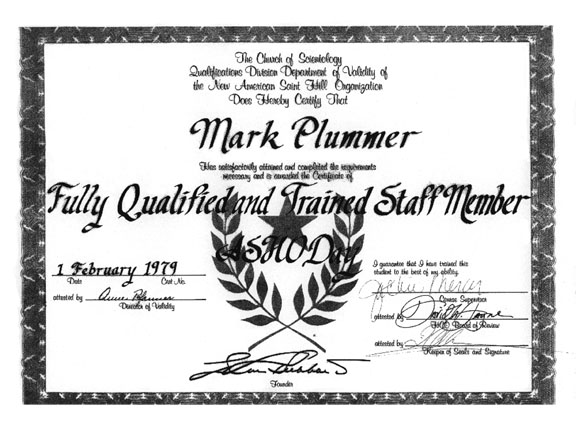 My Scientology Certificates, Awards and Sea Org Contracts