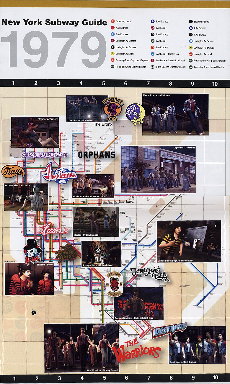 The Warriors Subway Gang Map  The Warriors Movie Site