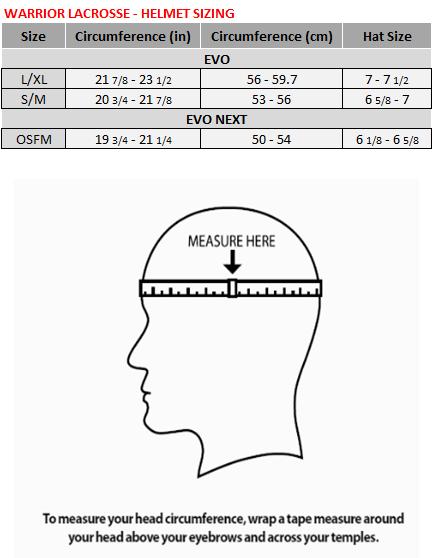 Lacrosse Helmet Size Chart : lacrosse, helmet, chart, Warrior, Lacrosse, Helmet, Chart