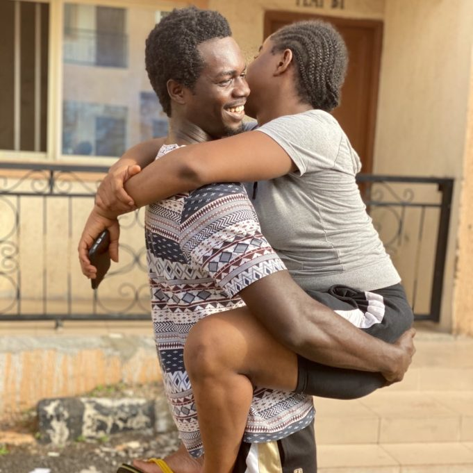 Man who made jest of lady's stature, shares loved-up photos with her as his girlfriend