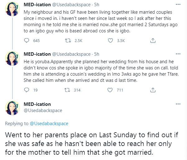 Twitter user narrates how neighbor's live-in girlfriend got married without him knowing
