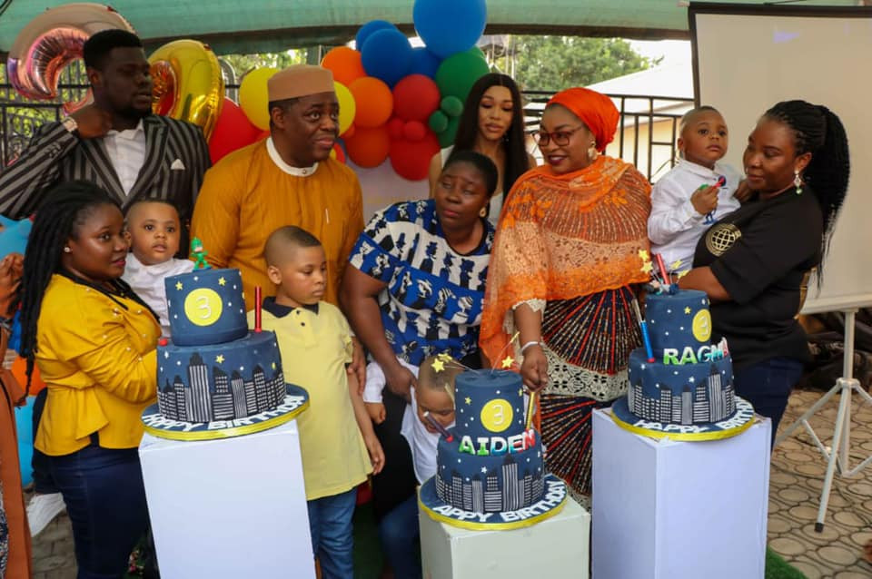 Precious absent as Femi Fani-Kayode throws birthday party for his triplet sons with new partner (photos)