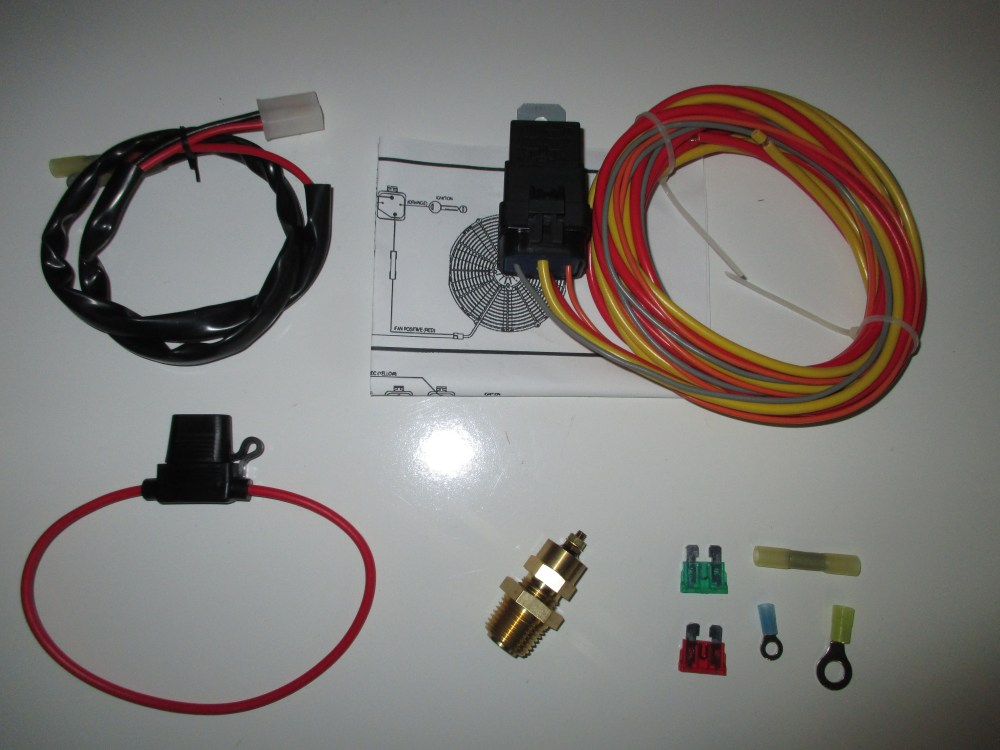 medium resolution of electric fan wiring harness kit with temp sensor 185 on 165 off