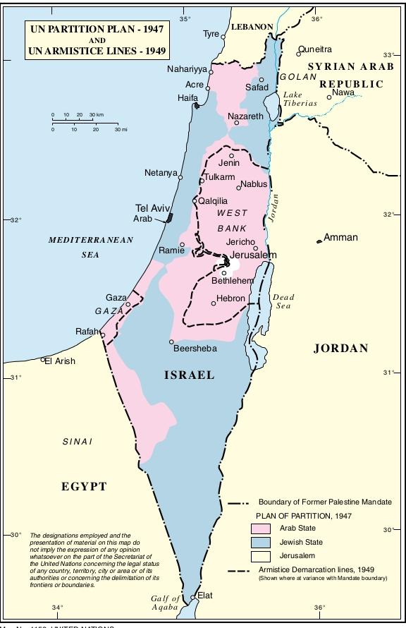 Image result for раздел палестины 1947  1949