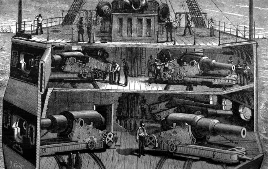 Пример расположения дульнозарядных бомбических орудий на палубах броненосца. Навевает мысли о романах Жюля Верна - Казусы эпохи пара и электричества: экстремальное кораблестроение | Военно-исторический портал Warspot.ru
