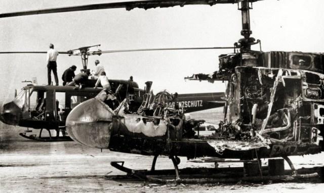 Выгоревшая кабина «Ирокеза», ставшего для заложников огненной ловушкой - Мюнхен-1972: точка отсчёта для антитеррора | Warspot.ru