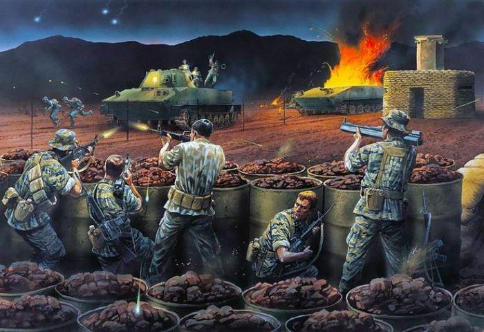 Бой за Ланг-Вэй стал первым сражением в Южном Вьетнаме, в котором Народная армия Вьетнама применила бронетехнику — советские плавающие танки ПТ-76. Современный рисунок изображает борьбу спецназовцев с этими танками в бою за базу Ланг-Вэй pinterest.com